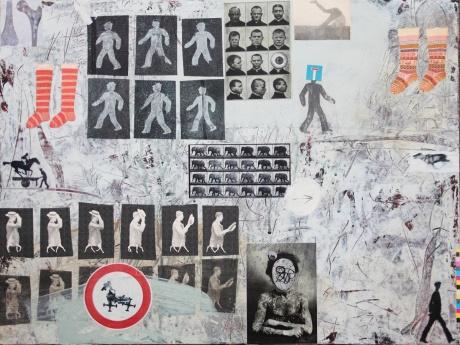 human and animal locomotion / 2015 / mixed media and acrylic on hardboard / 45x60