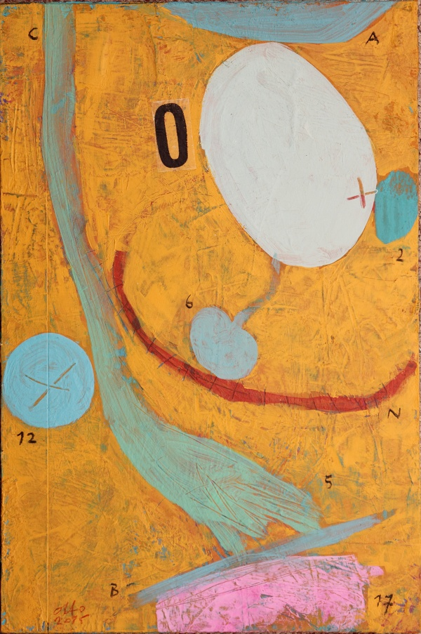 happy testicle / 2015 / acrylic, charcoal and collage on hardboard / 24,5x36,5